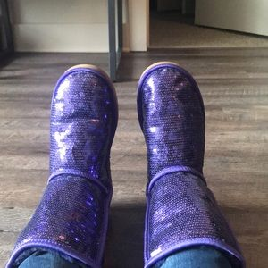 Purple sparkly uggs